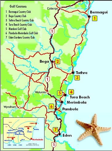Sapphire Coast Golf Location Airport Map Car Hire Rex Airline